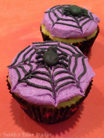Spider Cupcakes: Maple Chocolate Chip Cake with American Buttercream - Sarah's Bake Studio