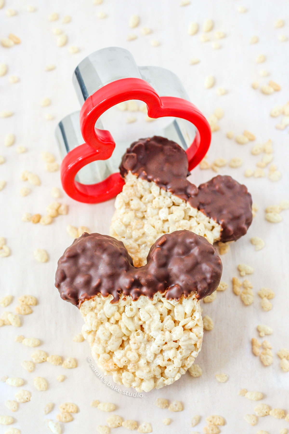 mickey mouse rice krispies treats with the mickey mouse sandwich cutter