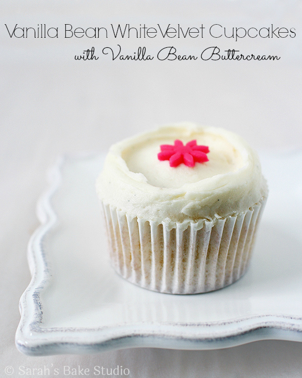 Vanilla Bean White Velvet Cupcakes with Vanilla Bean Buttercream