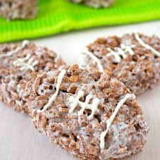 Football Chocolate Rice Krispies Treats from Sarah's Bake Studio
