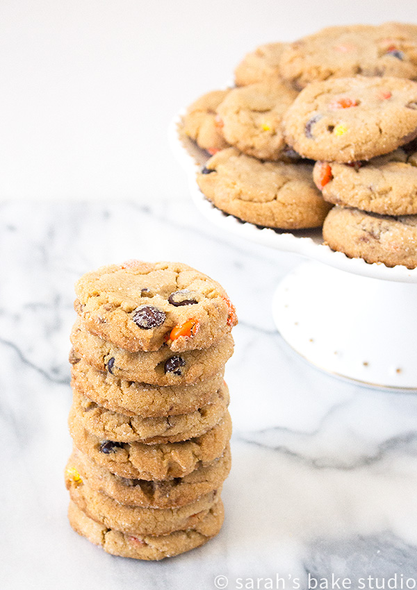 Loaded Reese's Peanut Butter Cookies – a soft and chewy peanut butter cookie loaded with chopped up Reese's Peanut Butter Cup Miniatures and Reese's Pieces.