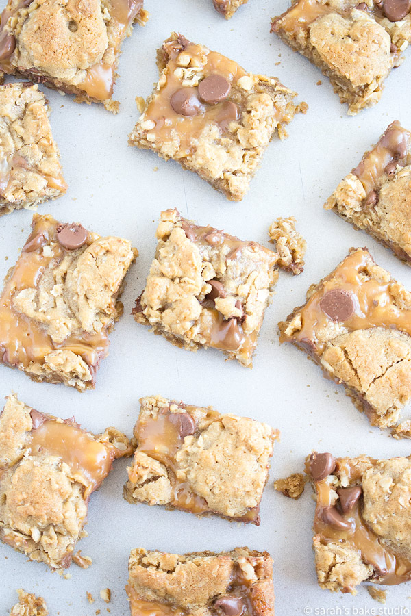Oatmeal Caramel Bars – soft and chewy oatmeal cookie bars loaded with walnuts, milk chocolate chips, and melted caramel; the most awe-inspiring bar you'll ever bake or eat.