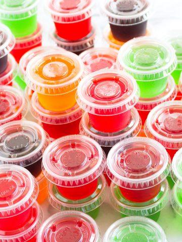 five different flavored jello shots