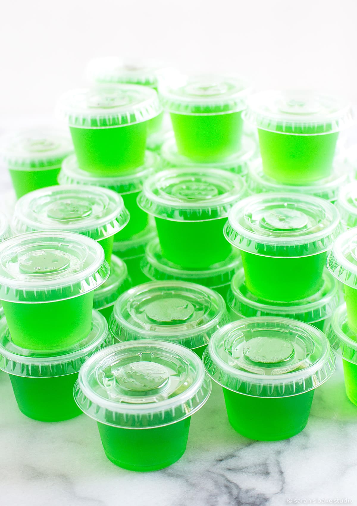 jolly rancher jello shots in plastic one-ounce cups with lids