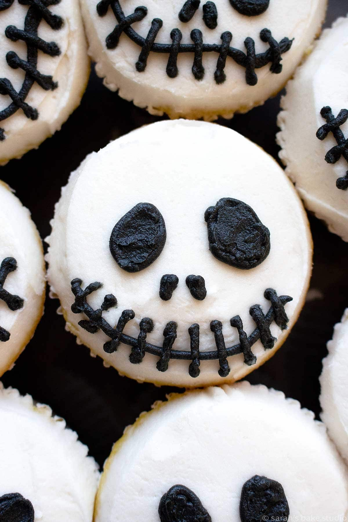 Jack Skeleton Cupcakes up-close.