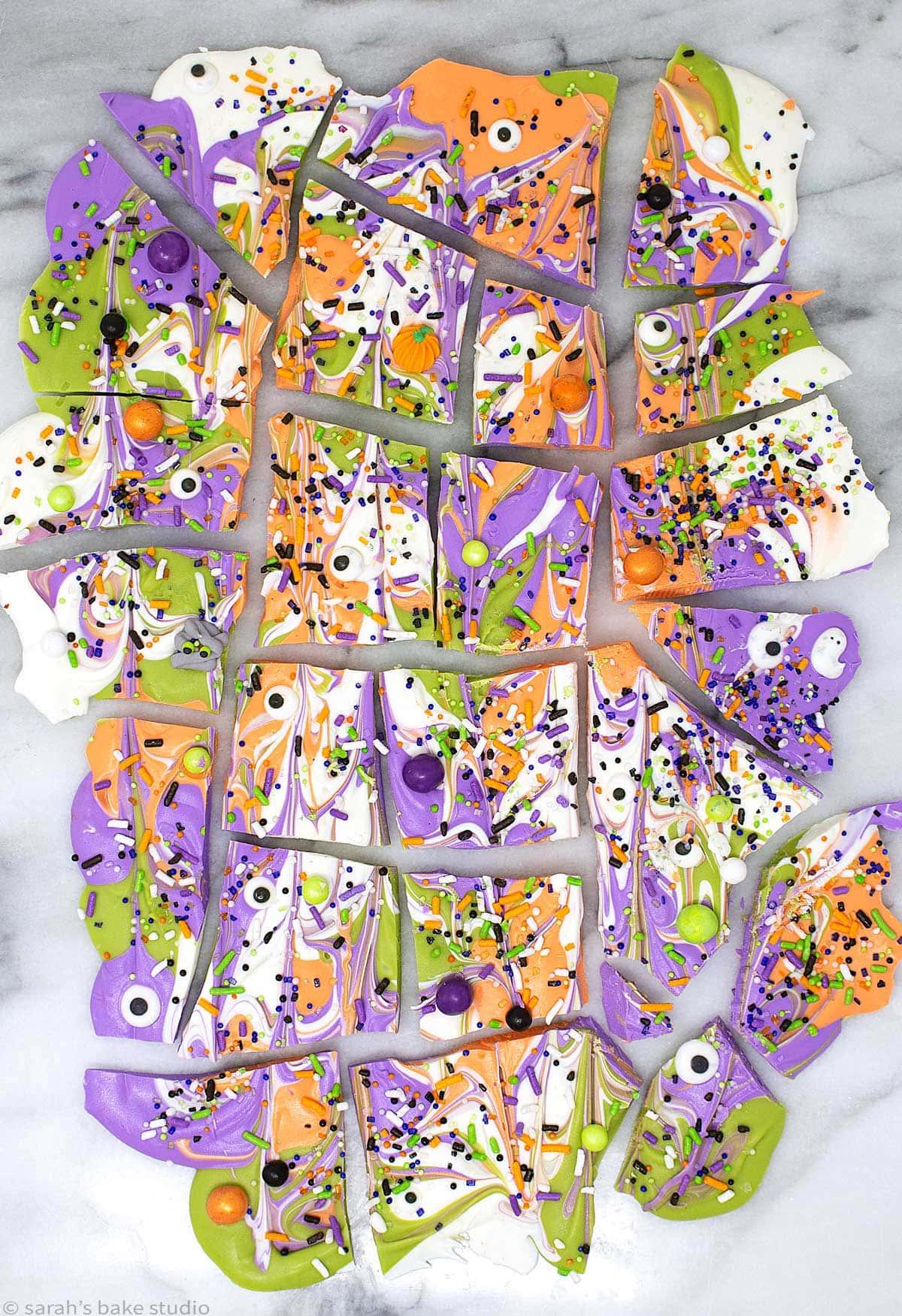 Monster Mash Halloween Bark broken up into pieces.