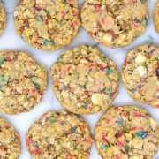 a flatlay of funfetti white chocolate chip oatmeal cookies.
