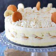 banana pudding icebox cake on a cake plate.