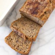 banana walnut bread loaf with a few slices.