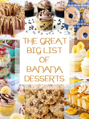 a collage of banana desserts.