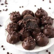 death by chocolate oreo truffles on a plate.