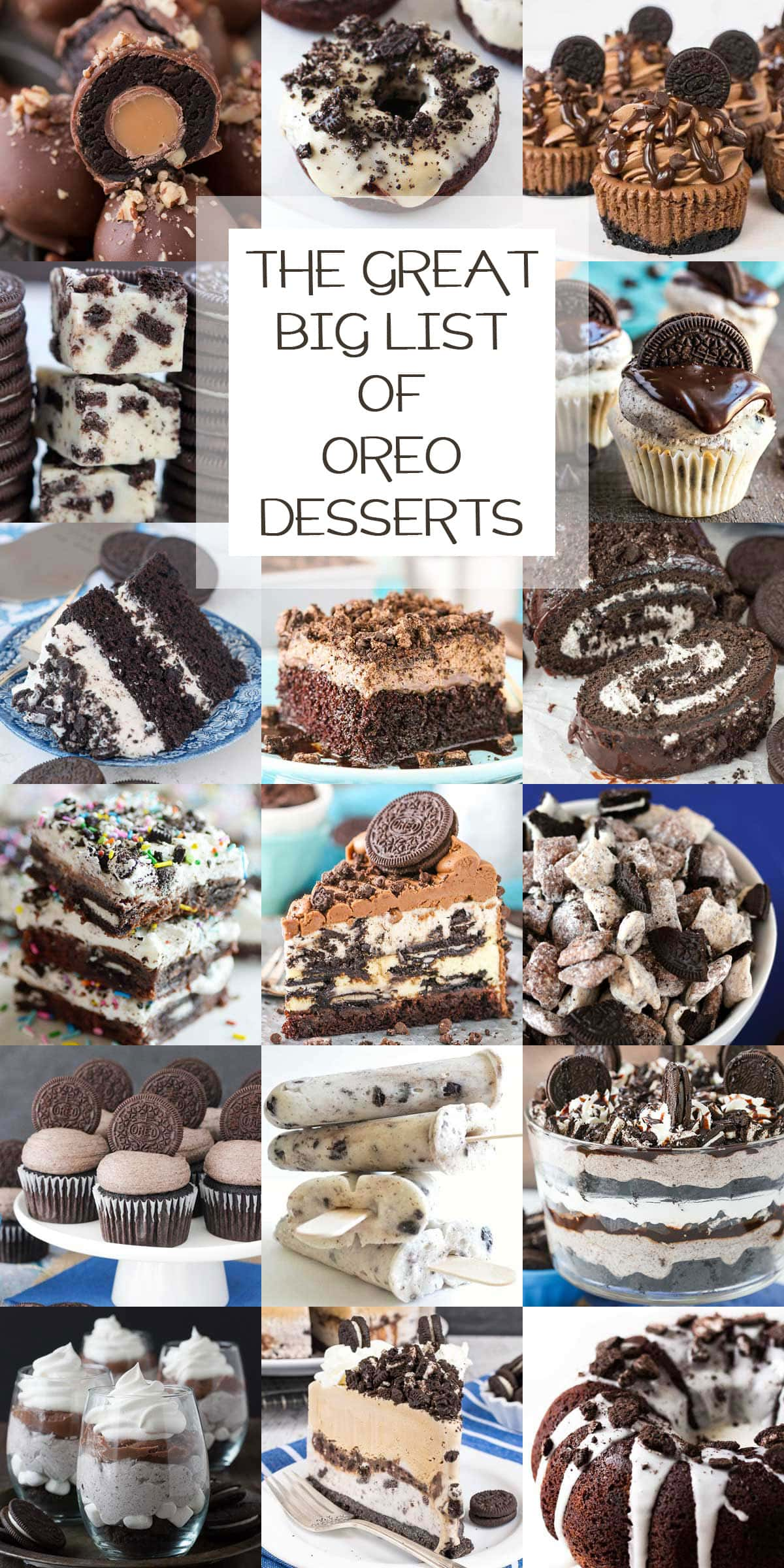 a collage of oreo cookie dessert recipes.