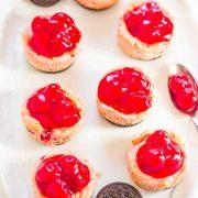 mini cherry oreo cheesecakes