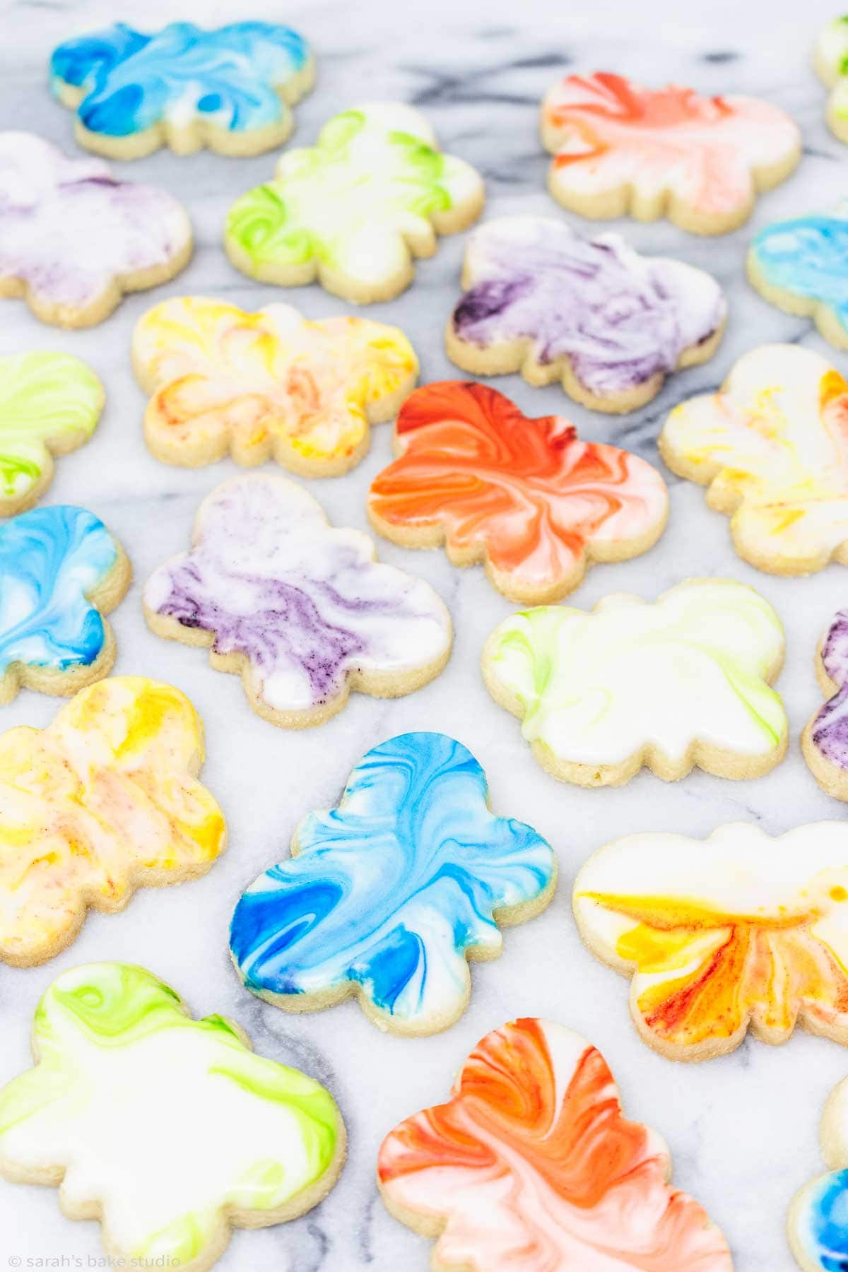 an array of marbled butterfly sugar cookies