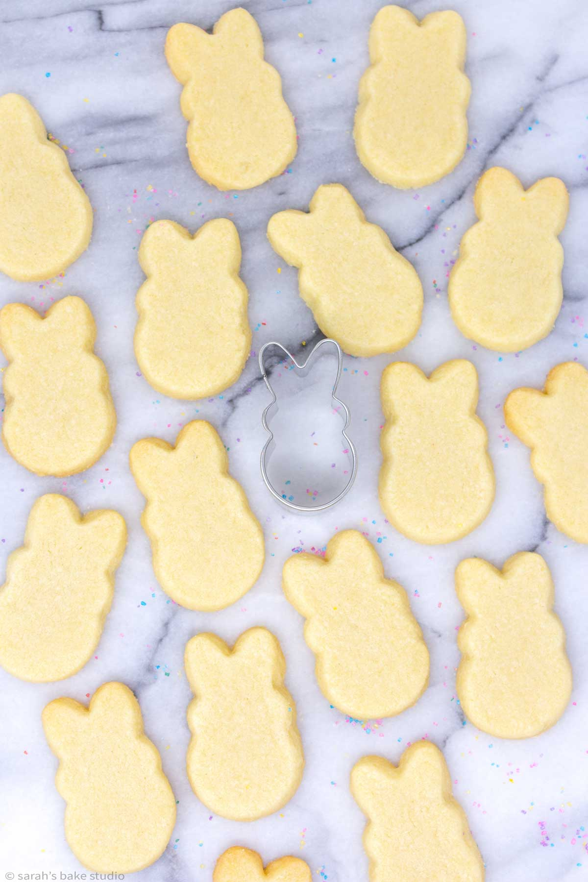 PEEPS Easter Bunny Sugar Cookies before being frosted with the PEEPS cookie cutter.