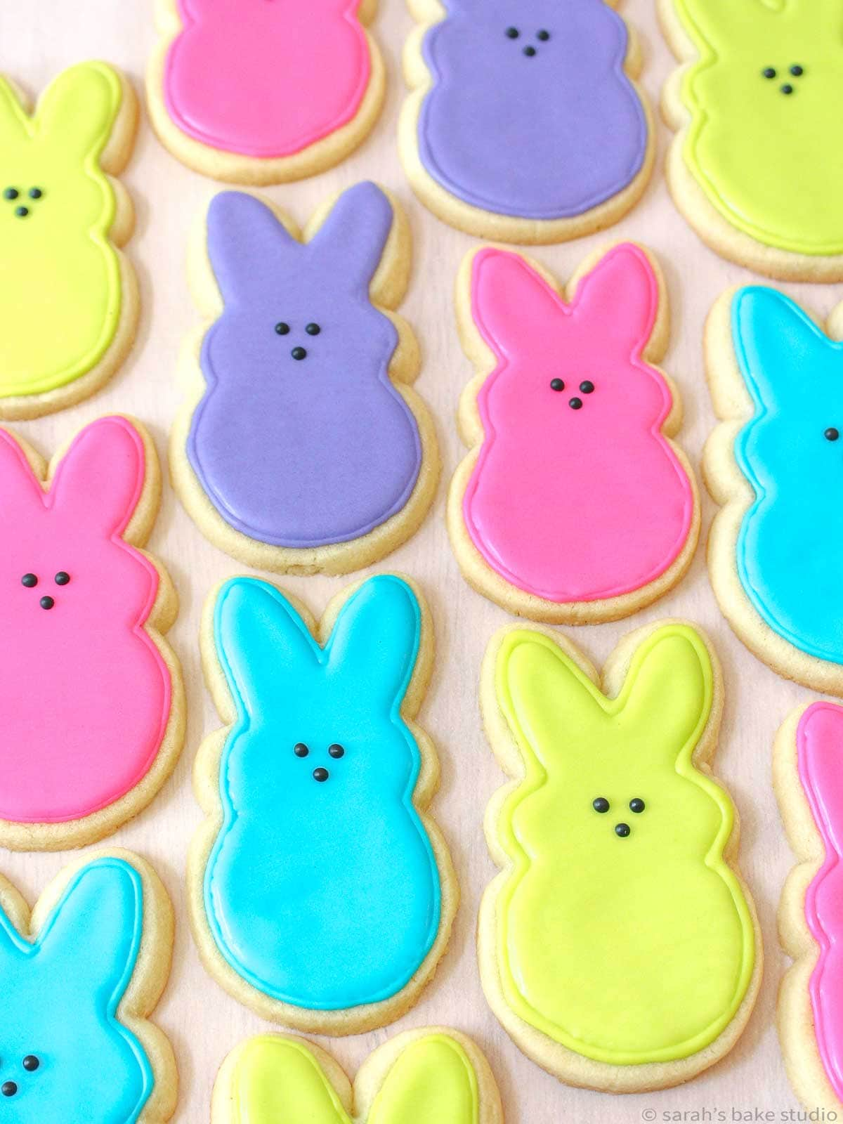 My first attempt at PEEPS Easter Bunny Sugar Cookies back in 2014 without the sanding sugar.