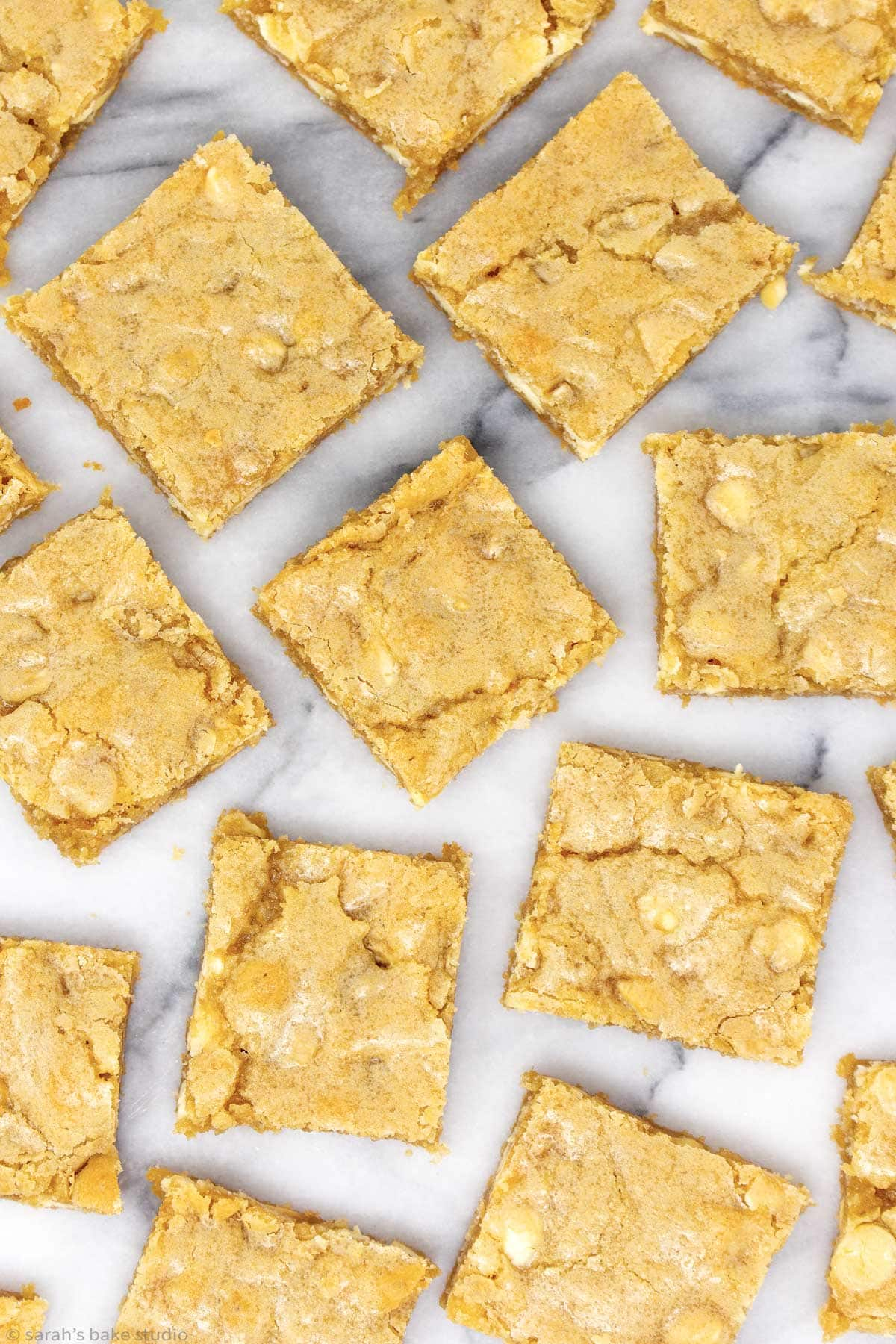 an overlay view of white chocolate blondies