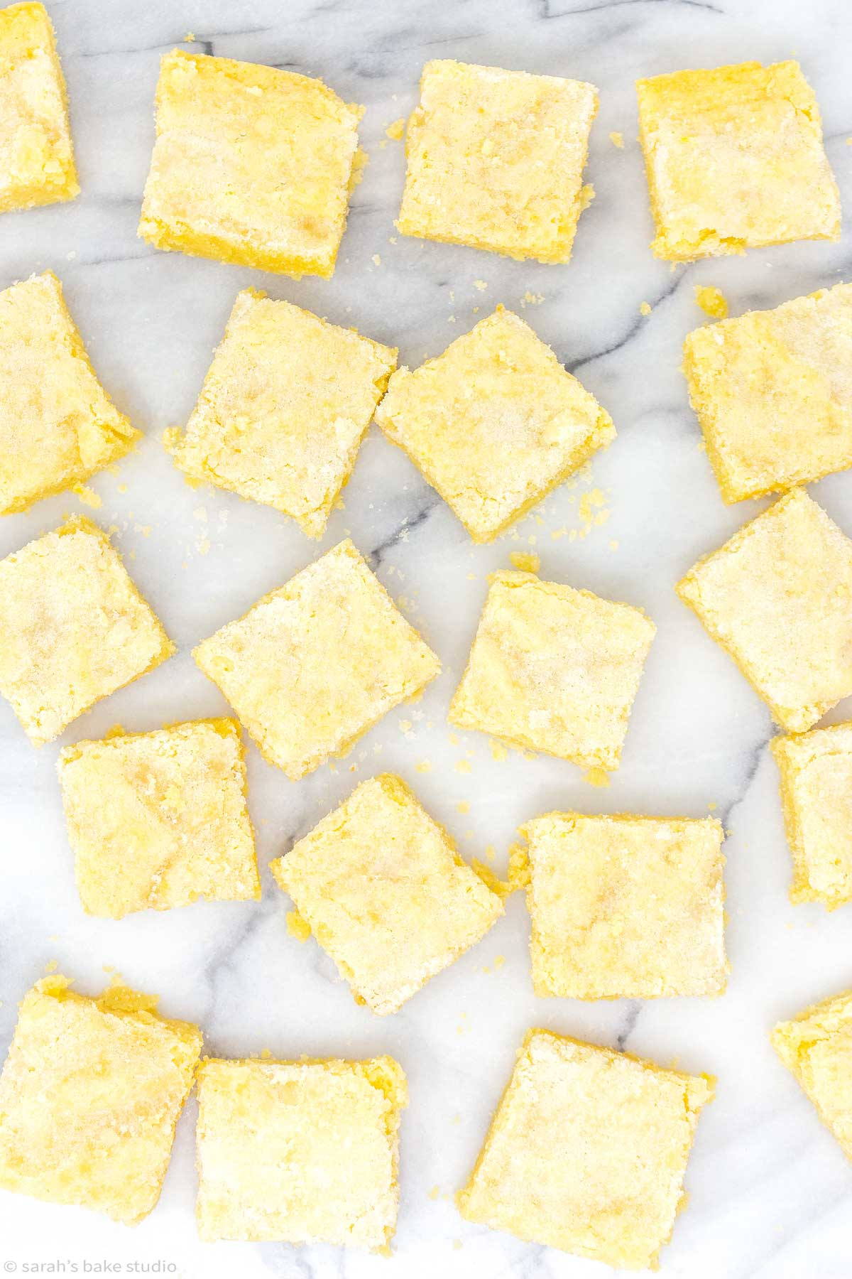 a flat-lay of lemon sugar cookie bars.
