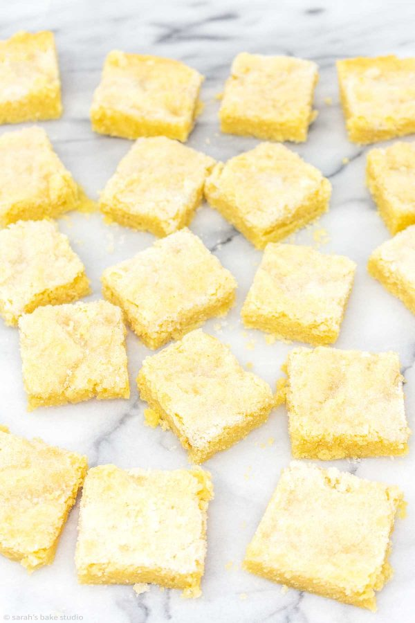 Lemon Sugar Cookie Bars - soft and chewy sugar cookie bars bursting with lemon deliciousness.