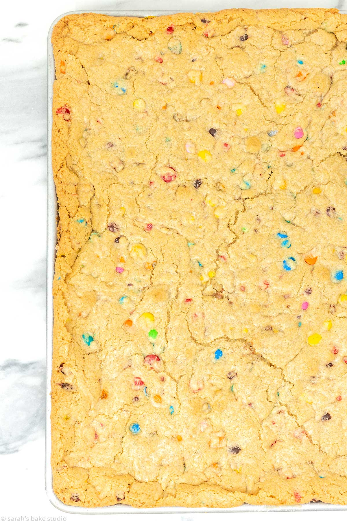 a pan of m&m cookie bars before cut.