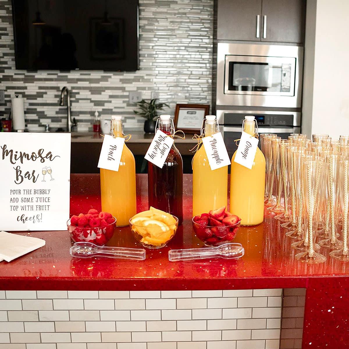 a mimosa bar at the bridal shower.