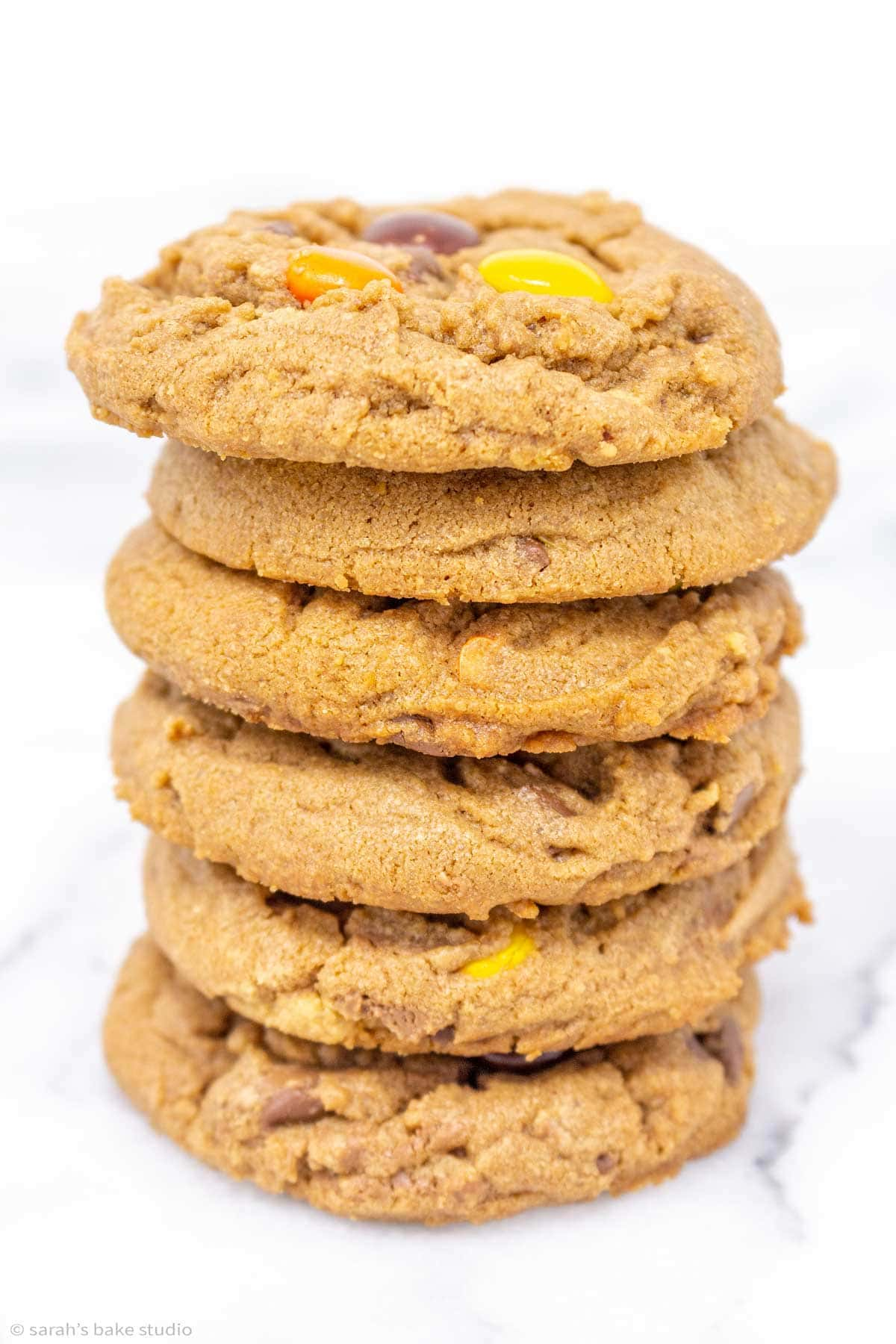 a stacked tower of Reese's chocolate peanut butter cookies.