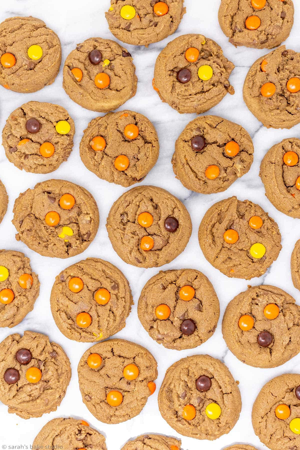 a flat-lay of Reese's chocolate peanut butter cookies.