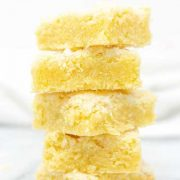 a stacked tower of lemon sugar cookie bars.