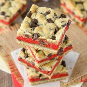 red velvet cheesecake chocolate chip cookie bars