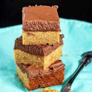 chocolate-frosted peanut butter blondies