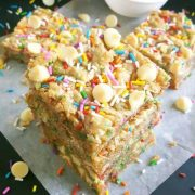 white chocolate chip birthday cake blondies