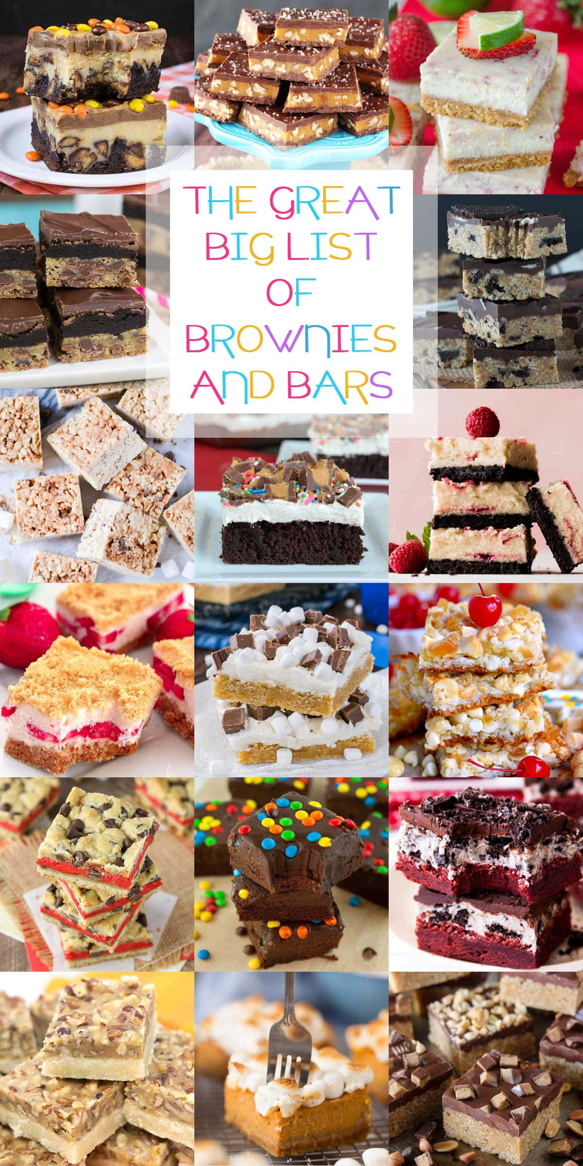 The Great Big List of Brownies and Bars - a mesmerizing and scrumptious sweet collection of 150+ brownies, blondies, and dessert bars from your favorite food bloggers; a rock-in' recipe roundup.